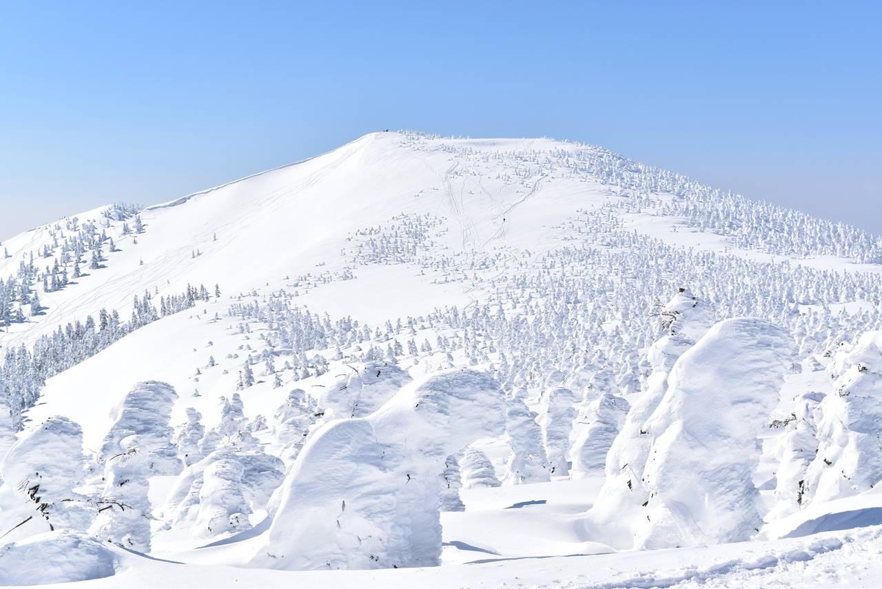 冬の西吾妻山登山 稜線の樹氷・スノーモンスターと西大巓