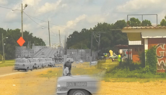 This image  displays the past and present together from the scene where events of Bloody Sunday transpired in Selma, Alabama.