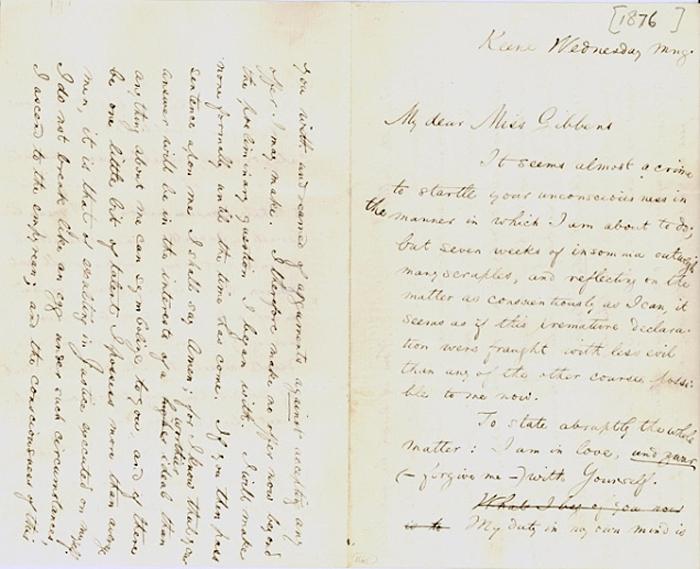 Carta de William James a Alicia Howe Gibbens en la que se puede leer