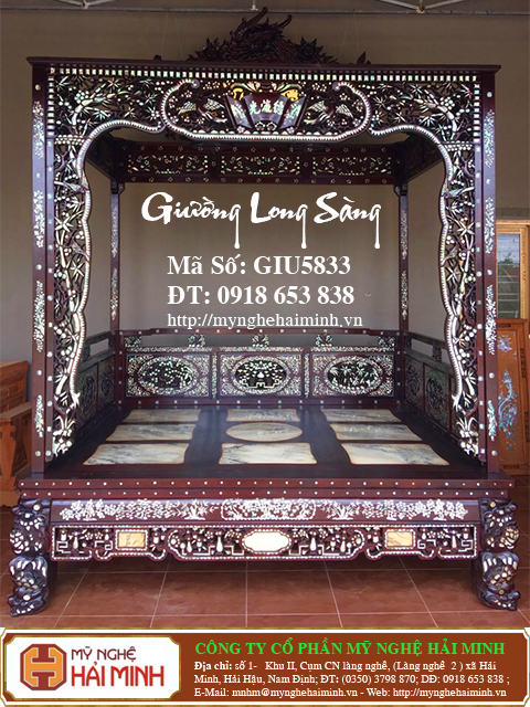 GIU5833a Giuong Long Sang kham Oc do go my nghe hai minh