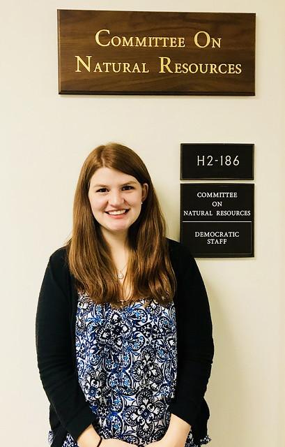 Auburn graduate student Sarah Lessard stands outside her office in Washington, D.C.
