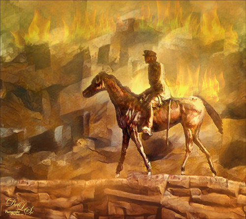 Digital Art Image of a Horse and Rider with Fiery Background