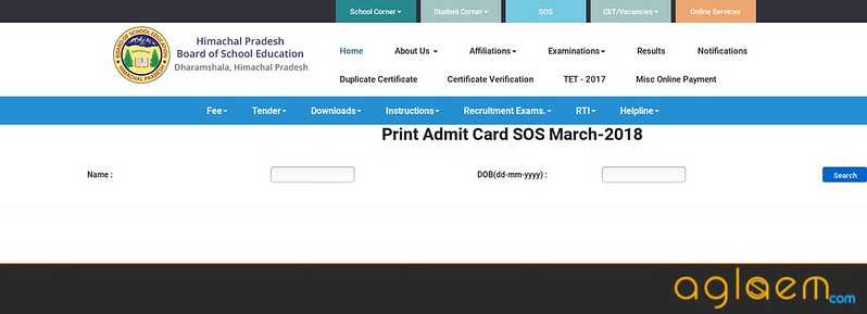 HP Board SOS Admit Card 2018