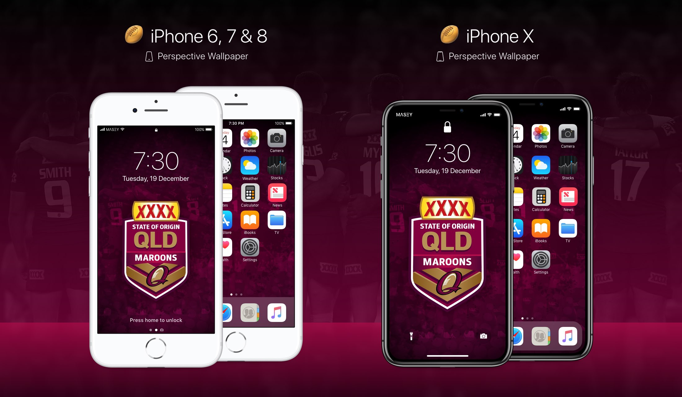 QLD Maroons iPhone Wallpaper