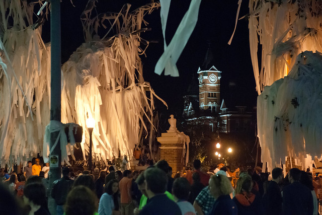 Toilet paper fills an oak tree at Toomer's Corner at night.
