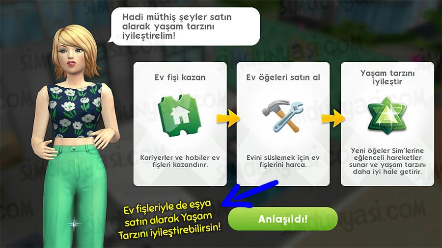 The Sims Mobile Lifestyle New Room Lot Yaşam Tarzı Skoru Arazi ve Oda Genişlemesi