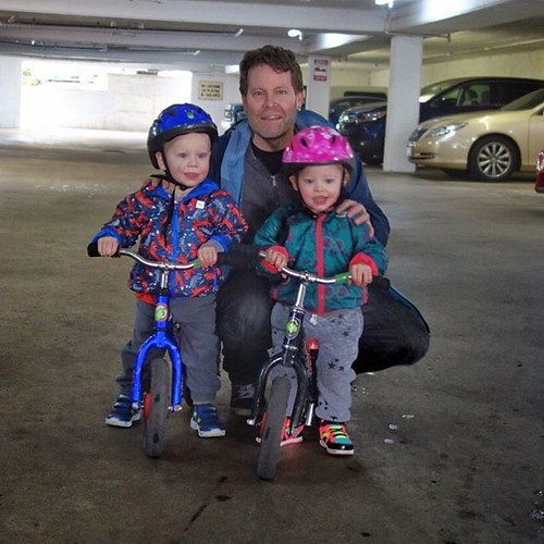 C & A just turned 22-months, so we picked up new helmets and got them on their push-bikes for the first time. It was drizzling a bit so we had to play around down in the car park, but they did have a pretty good time. Colin is already pretty bruised up fr | by Chris Young 43