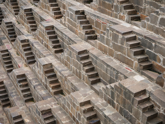 Chand Baori step well, Rajasthan. Lots of small steps
