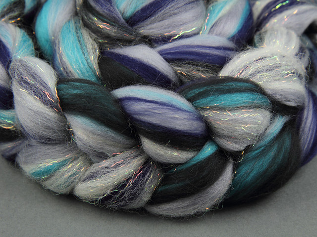 Rebel Blend extra fine Merino and Stellina combed top/roving spinning fibre 125g – 'Sea Squall'