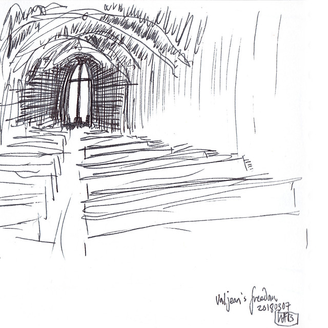 Drawing - cross at far end of church-like building.