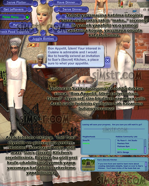 The Sims 2 FreeTime Hobbies Cuisine Yemek Sanatı Hobisi Sue's (Secret) Kitchen