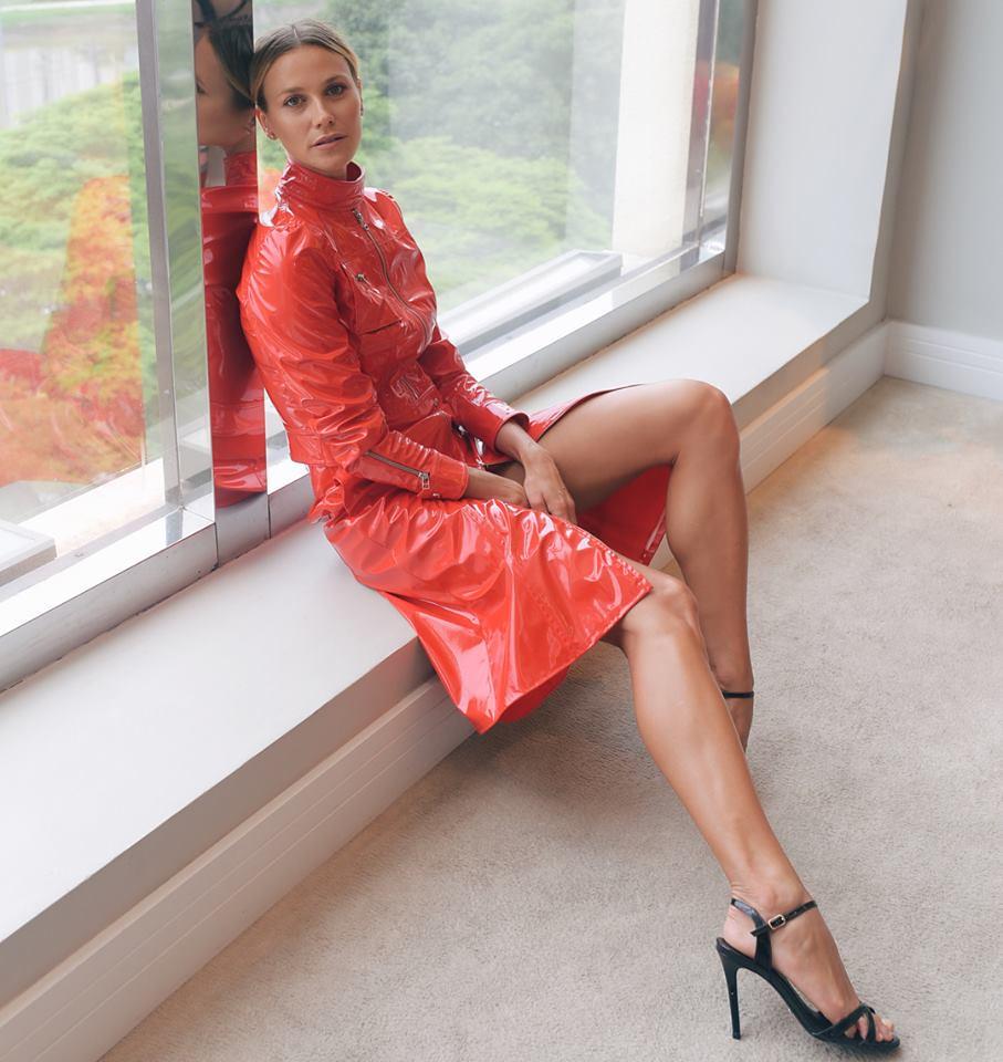 renata kuerten in vinyl jacket and skirt | brazilian model r… | flickr