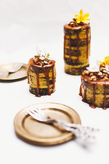 Chocolate Carrot Cake with Turmeric Butterscotch Buttercream, Salted Caramel and Oat Crumble | by estherolschowy