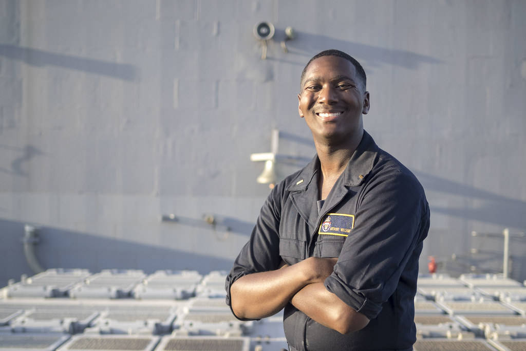 PHILIPPINE SEA (March 12, 2018) – A Houston, Texas native and 2017 Prairie View A&M University graduate, Ensign Anthony Williams Jr., is now serving in the U.S. Navy aboard the Ticonderoga-class guided-missile cruiser USS Antietam (CG 54).