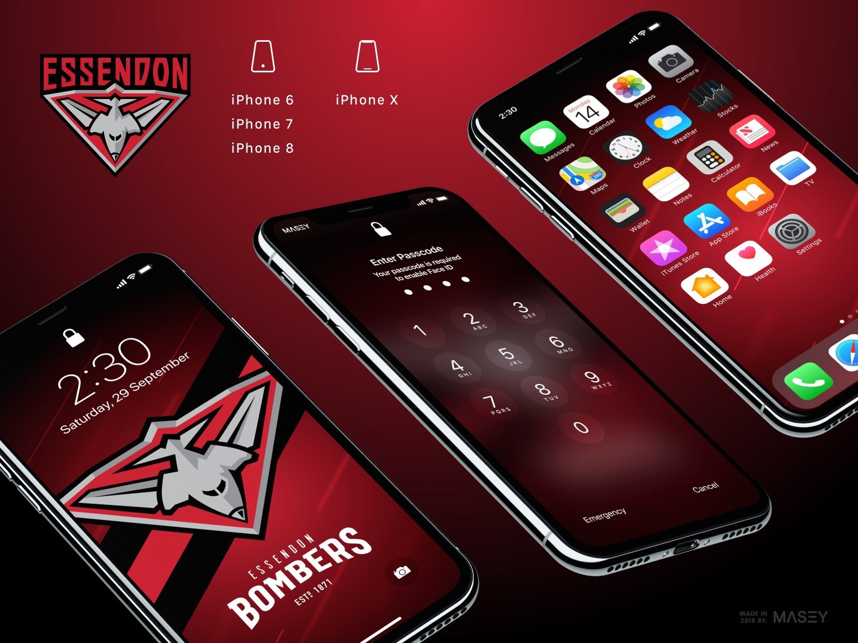 Essendon Bombers iPhone Wallpaper