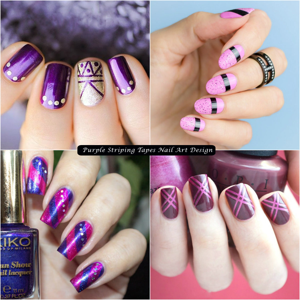 Purple Striping Tapes Nail Art Design Goouzeduj This D Flickr