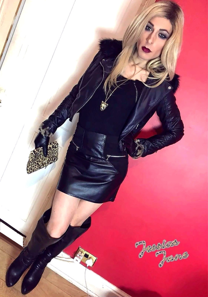 Leather Leopard  Leather Skirt, Jacket, Boots And Gloves -9430