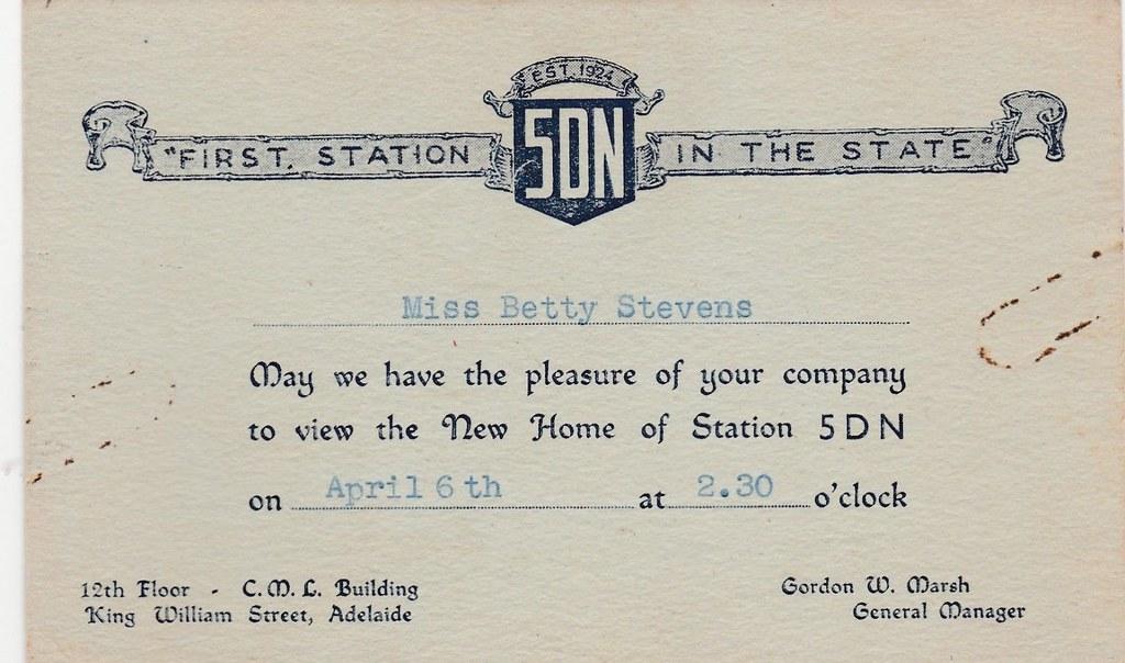 Invitation to view new premises of radio station 5dn in ad flickr invitation to view new premises of radio station 5dn in adelaide sa 1936 stopboris Gallery
