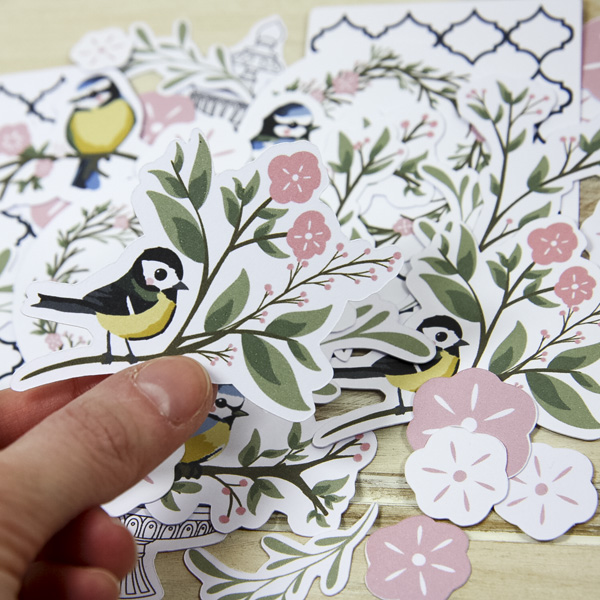 StickerKitten Bird Garden craft range - die cut ephemera toppers - great tit bird