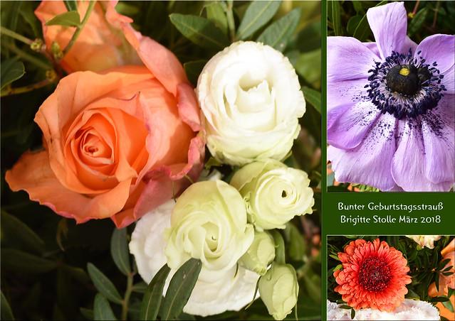 Blumenstrauß, bunter Geburtstagsstrauß, Frühlingsstrauß ... Fotos und Collagen: Brigitte Stolle 2018