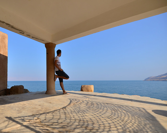En nuestra terraza de los apartamentos Mujib en el Mar Muerto