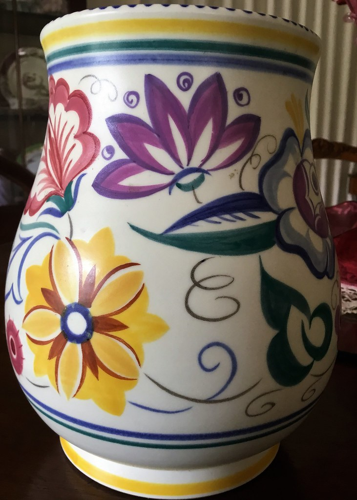 Poole Pottery vase. One of the marked elaborate floral vas ...