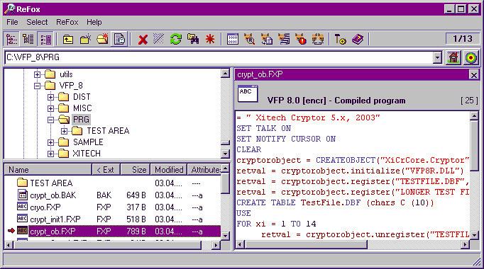 ReFox - Phần mềm dịch ngược mã nguồn chương chình Foxpro - Nosomovo