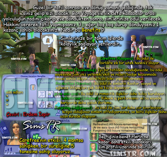 The Sims 2 Bon Voyage Benefits Tatil Kazançları Ödüller