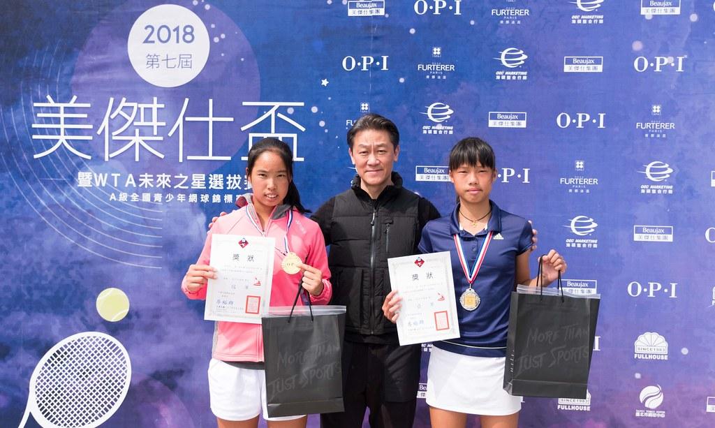 第七屆OPI盃14歲組女單冠軍新興國中楊亞依(左)獲得WTA未來之星參賽資格。(海碩整合行銷提供)