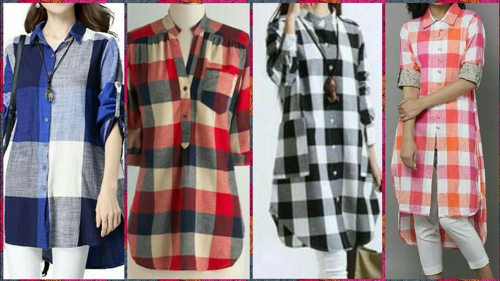 Latest cotton check kurti kurta designs for girls 2018 for New check designs
