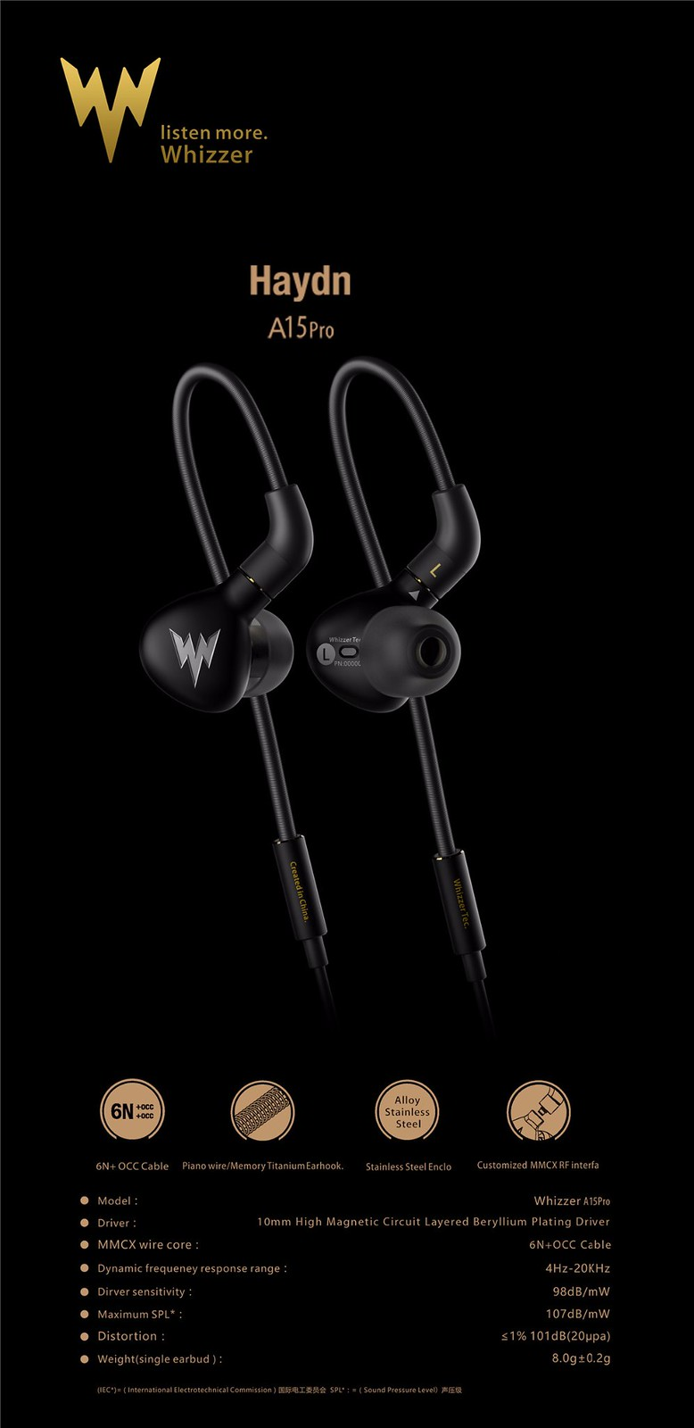 Ready Stock Whizzer Haydn A15pro End 3 18 2019 215 Pm Wiring Diagram A15 Pro Stainless Steel Dynamic Driver Iem Earphones With Mmcx Detachable Cable