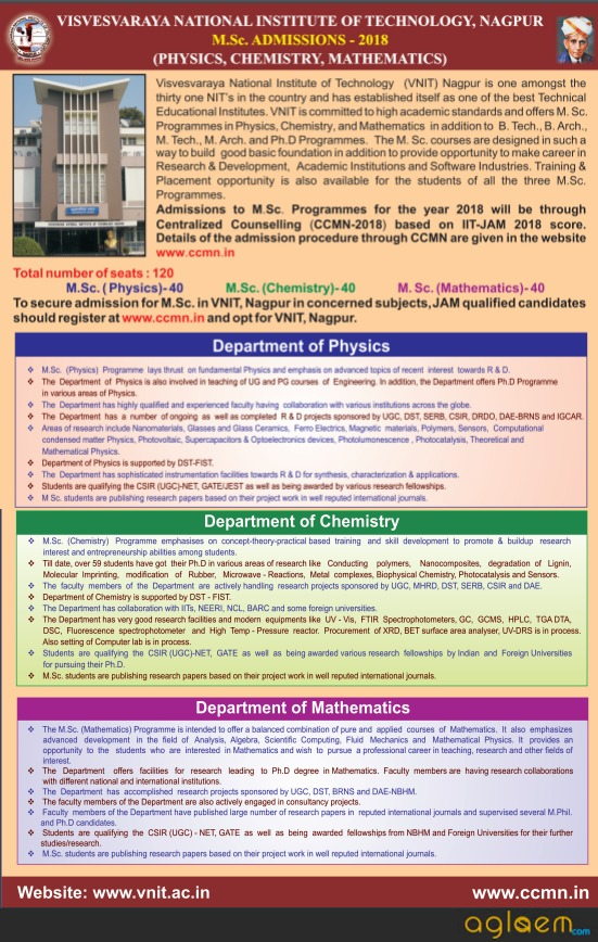 VNIT Nagpur M.Sc Admission 2018
