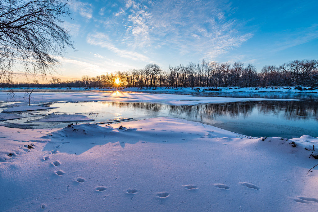 minnesota river snow sunrise