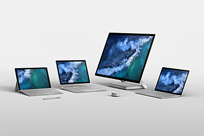 The Microsoft Surface family: (from left) Surface Pro, Surface Book 2, Surface Studio, Surface Laptop.