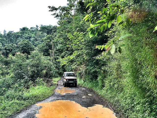 Carretera embarrada en Santo Tomé y Príncipe