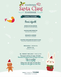 Menú infantil Fiesta Santa Claus Sports Bar 23/12/18