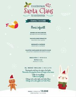 Menú infantil Fiesta Santa Claus Sports Bar 23/12/18
