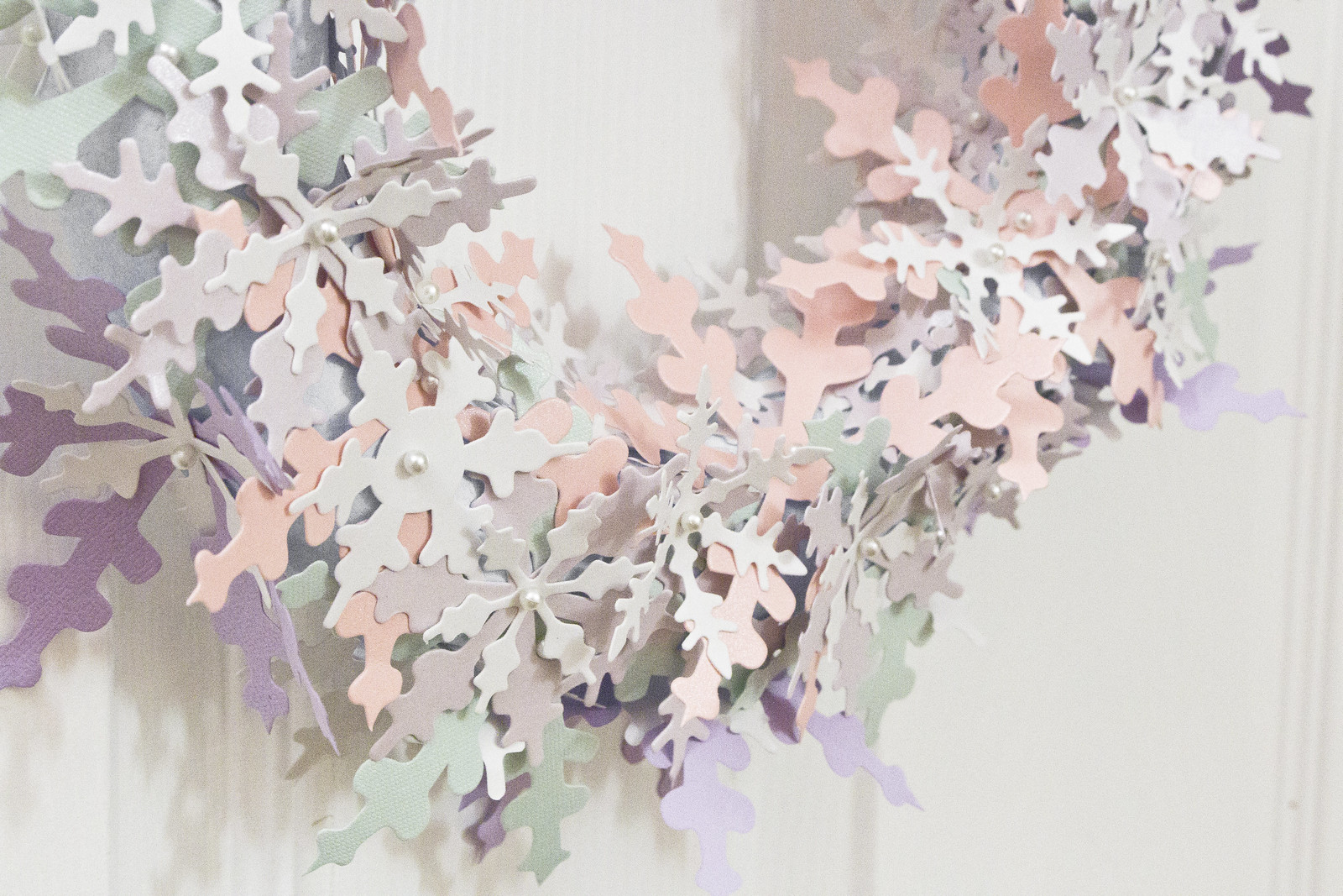 Paper snowflake wreath