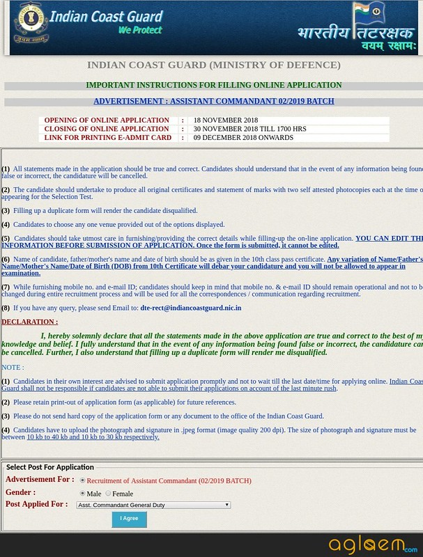 Fill Indian Coast Guard Assistant Commandant Application Form (02/2019)