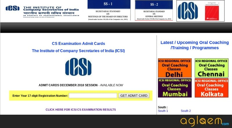 ICSI CS Admit Card 2018 (Released) - Download for CS Foundation, Executive, Professional