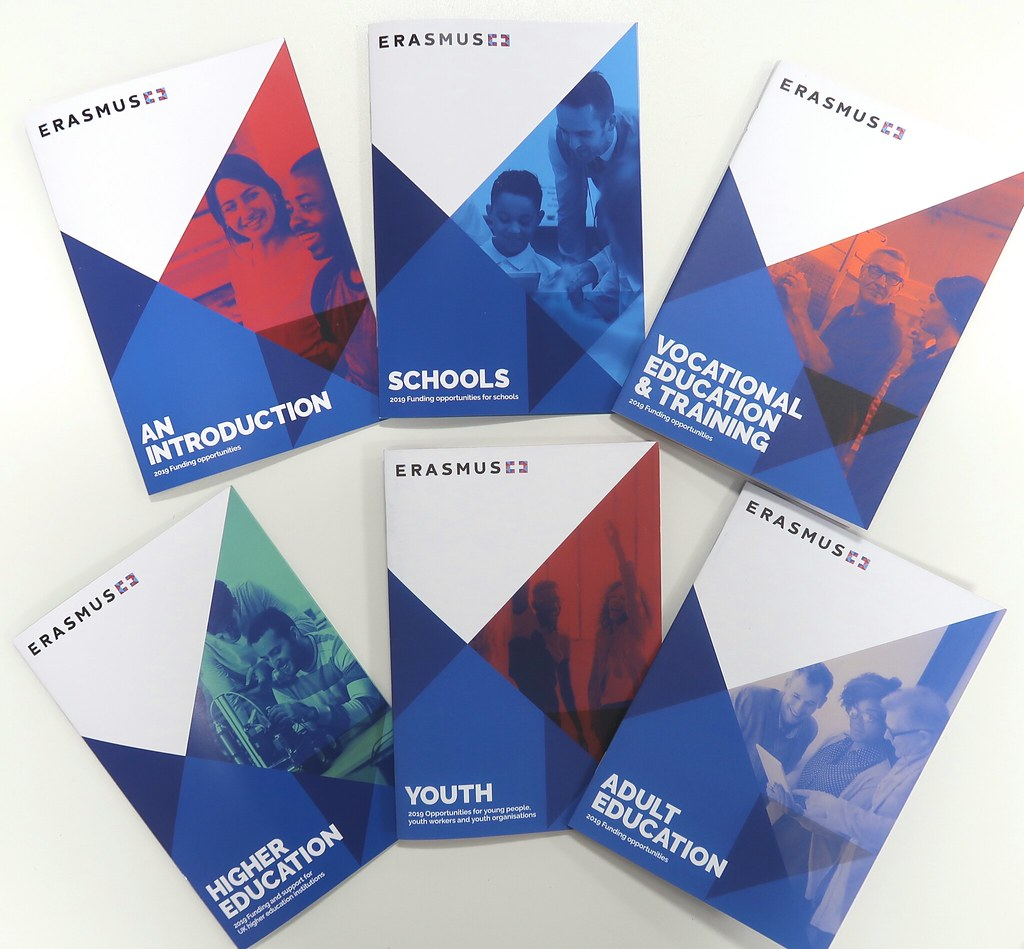 2019 Erasmus+ brochures displayed on table