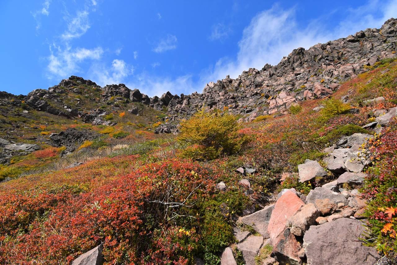 浅間山Jバンドから見上げる外輪山の岩壁