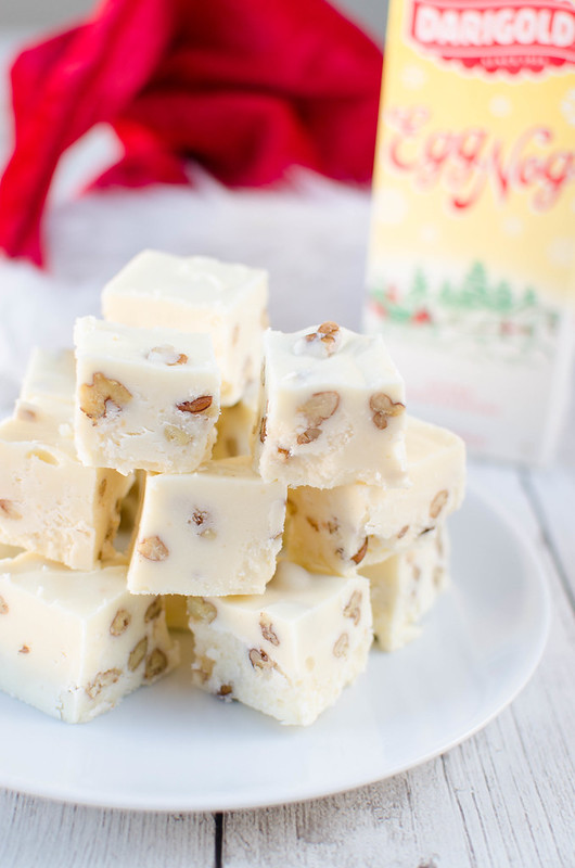 Eggnog Fudge - the perfect Christmas fudge recipe! White chocolate eggnog fudge with chopped pecans. Easy and delicious!