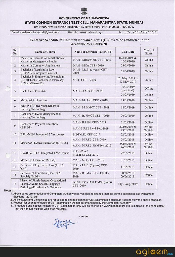 DTE Announces Exam Dates For All Maharashtra CETs 2019