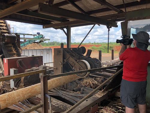 A videographer films a sawmill
