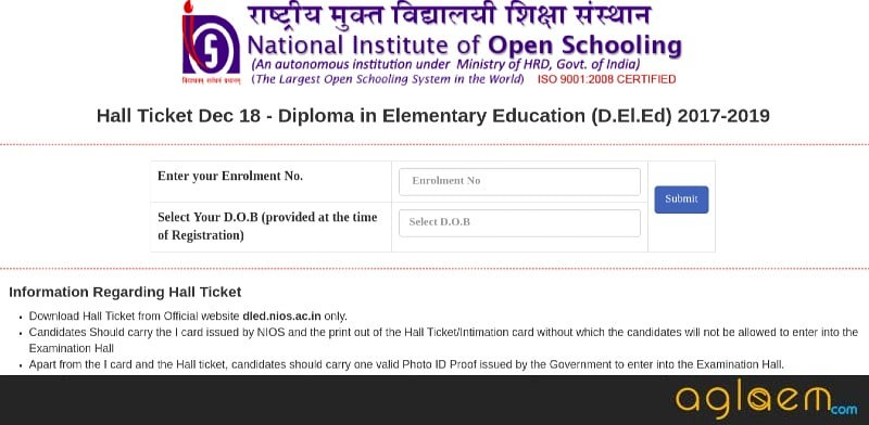 NIOS DElEd Admit Card 2018-2019 - Download Here for 501-510