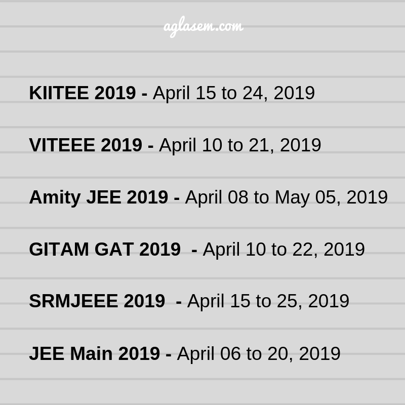 Exam Date For 5 Major Engineering Exam Clashing With JEE Main 2019!