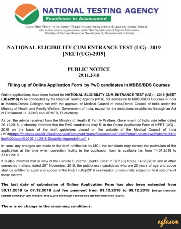 NEET 2019 Registration
