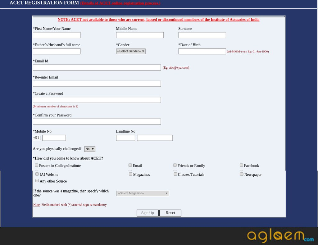 ACET Registration form details
