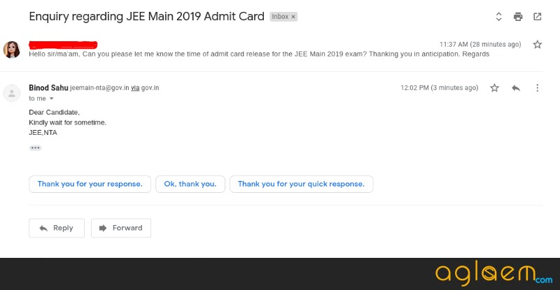 JEE Main 2019 Admit Card